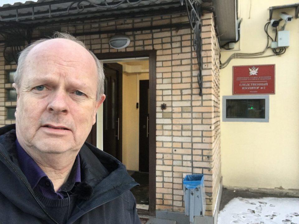 Morten Jentoft utenfor Lefortovofengselet i Moskva